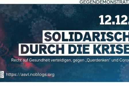 """Solidarisch durch die Krise – Recht auf Gesundheit verteidigen, gegen """"Querdenken"""" und Corona"""